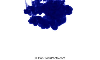 A lot of flows of isolated blue ink injects. Blue ink in water , shot in slow motion. Use for inky background or backdrop with smoke or ink effects, alpha channel is on use for it luma matte