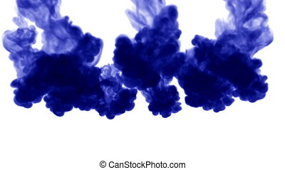 A lot of flows of isolated blue ink injects. Blue pigment drop in water , shot in slow motion. Use for inky background or backdrop with smoke or ink effects, alpha channel is on use for it luma matte