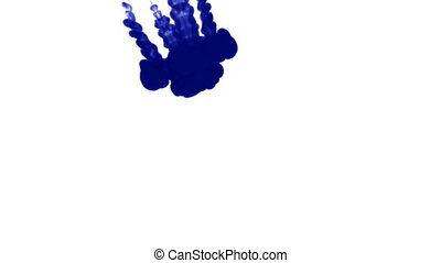 A lot of flows of isolated blue ink injects. Blue tint drop in water , shot in slow motion. Use for inky background or backdrop with smoke or ink effects, alpha channel is on use for it luma matte