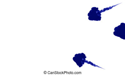 A lot of flows of isolated blue ink injects. Blue gouache mix in water , shot in slow motion. Use for inky background or backdrop with smoke or ink effects, alpha channel is on use for it luma matte