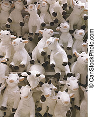 a lot of funny goats as symbol of new 2015 year.