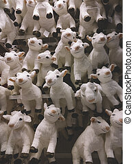 a lot of funny goats as symbol of new 2015 year