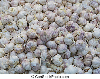 A lot of garlic in a box on the market. Autumn harvest sale