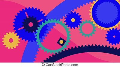 A lot of gears rotate. colored animated background. 2D visualization. Startup digital marketing and teamwork concept. Looped video. High quality 4k footage