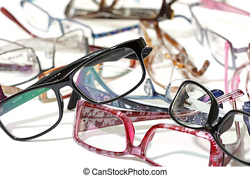 a lot of glasses on white background
