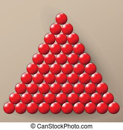 A lot of glossy red balls on a brown background. A pile of balls.