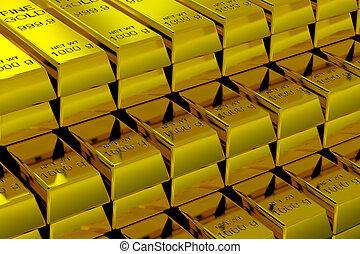 Gold Bars - A lot of Gold Bars.  3D render image.