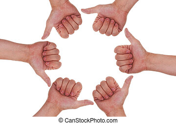 a lot of hands with thumbs up making a circle