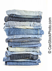 a lot of jeans on white background