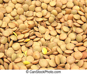 A lot of lentils in a close-up view