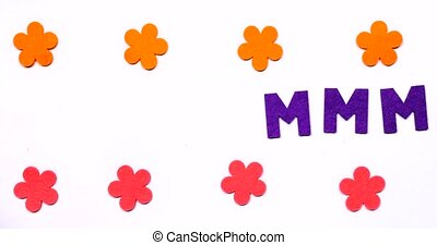 A lot of Lilac dancing letter M of the English alphabet.