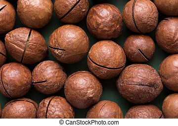 A lot of macadam nuts closeup. - Whole macadamia nuts. A lot...