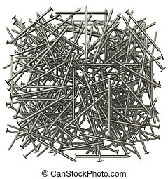 A lot of metal nails. The effect of depth of field