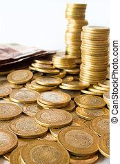 mexican pesos money - a lot of mexican pesos money, coins...