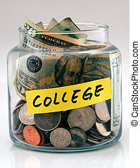 A lot of money in a glass bottle labeled %u201CCollege%u201D