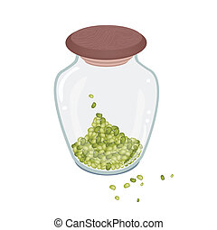 A Lot of Mung Beans in Glass Bottle