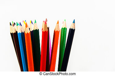 A lot of pencils isolated on white