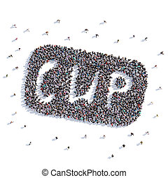 A lot of people form cup, icon . 3d rendering.