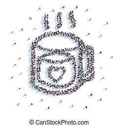 A lot of people form cup of tea, love, icon . 3d rendering.