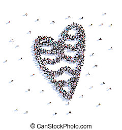 A lot of people form heart, wedding, love . 3d rendering.