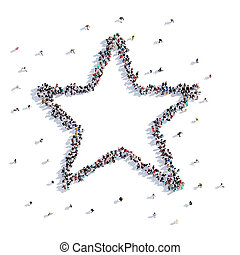 A lot of people form star, children's drawing . 3d rendering.