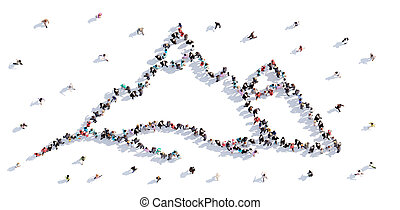 A lot of people form the mountains, children's drawing . 3d rendering.