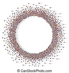 A lot of people stand in a circle on a white background