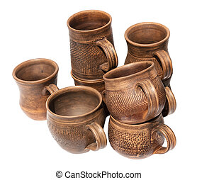 a lot of pottery on white