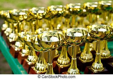 prize cups - a lot of prize cups outdoors