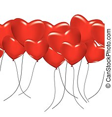 A lot of red hearts as ballons on white. Seamless background. Vector illustration