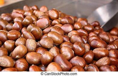 a lot of roast chestnut
