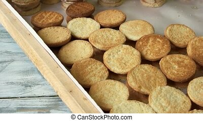A lot of round cookies at bakery. Fresh crispy cookies....