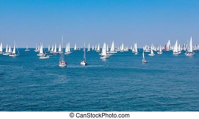 A lot of sailing boats on the regatta - Sailing boat race,...