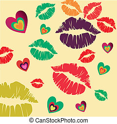 a lot of silhouettes of lips and hearts together