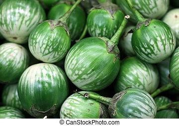 A lot of Solanum macrocarpon at market place