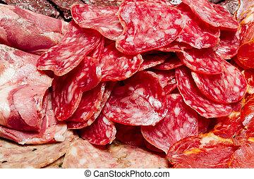 a lot of Spanish serrano ham iberico