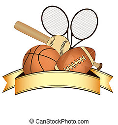 sports - a lot of sports related objects and a golden ribbon