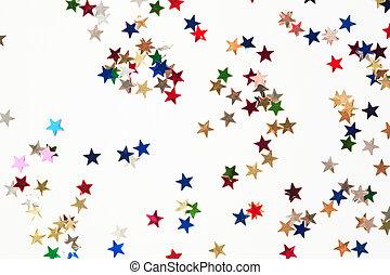tiny gleaming stars  - a lot of tiny gleaming stars on white