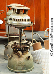 A lot of vintage dirty oil lamp