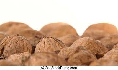 A lot of walnuts, on white, rotation, close up