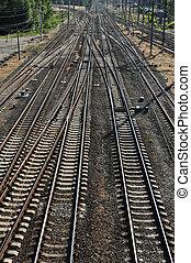A lot Rails - A lot railroads on the sunset time