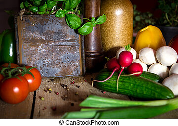 a lots of healthy vegetables on a wooden table, sign with copysp