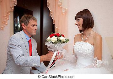 a, lovász, ad, menyasszony, egy, esküvő bouquet