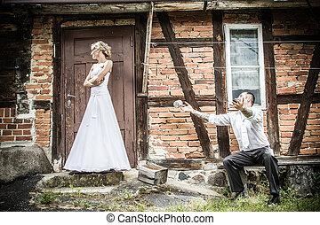 a, lovász, menyasszony, apologizes