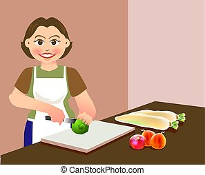 A lovely mother is chopping vegetables, preparing food for cooking