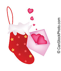 A Lovely Red Christmas Stocking with Love Letter