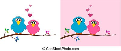a loving bird couple sitting on a branch with colourful leaves