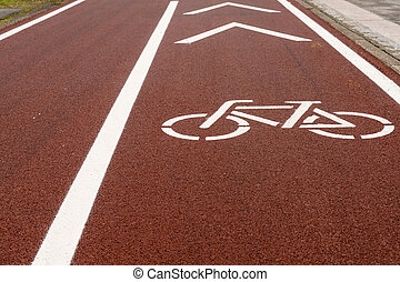low angle close up view of a modern bicycle lane in a big city