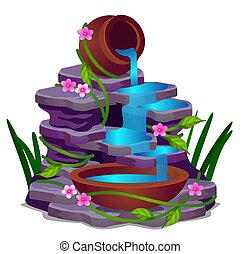 A low rocky waterfall and plants isolated on a white background. Vector cartoon close-up illustration