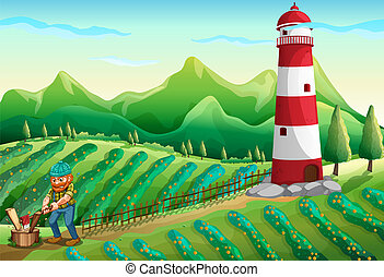 A lumberjack at the farm with a tower